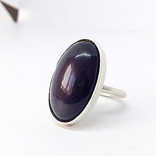 Prezioso anello aperto con grande ossidiana naturale arcobaleno in cabochon da 23,6 carati (18 mm x 28 mm x 7 mm) realizza...
