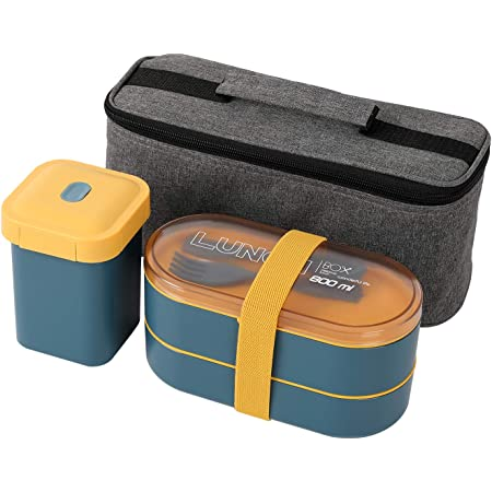 PENGKE Bento Box Adult Lunch box,Japanese Bento Boxes For Adults With insulation bag,Leak-proof Eco-Friendly Bento Lunch Box Meal Prep Containers for Kids and Adults,Blue