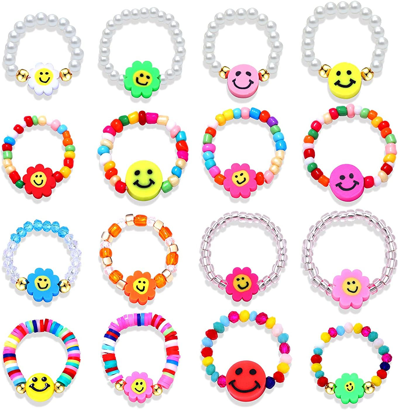 NLCAC Beaded Smiley Face Rings Pearl Handmade Heishi See Max 41% OFF Max 42% OFF Rainbow
