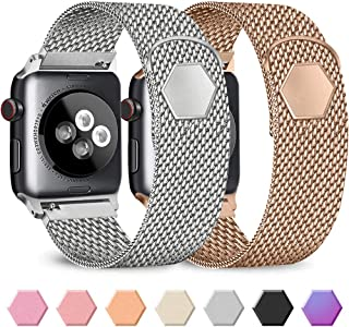 Pack 2 Metal Band Compatible with Apple Watch 38mm 40mm 42mm 44mm,Stainless Steel Mesh Loop with Adjustable Magnetic Closure Bands Compatible for iWatch Series 5/4/3/2/1 (Silver+Rose Gold, 38mm/40mm)