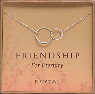 EFYTAL Sterling Silver Friendship for Eternity Necklace, Two Interlocking Infinity Circles Gift for Best Friend