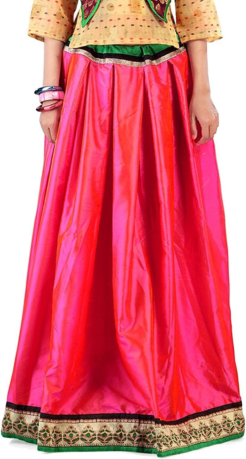 Indian Handicrfats Export Admyrin Women Pink Art Silk Skirt