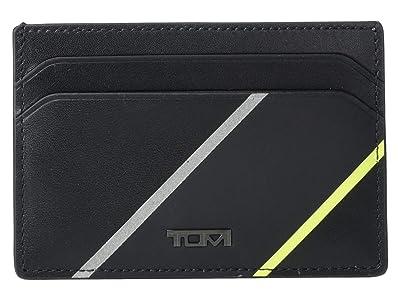 Tumi Nassau Money Clip Card Case (Black/Bright Lime) Wallet