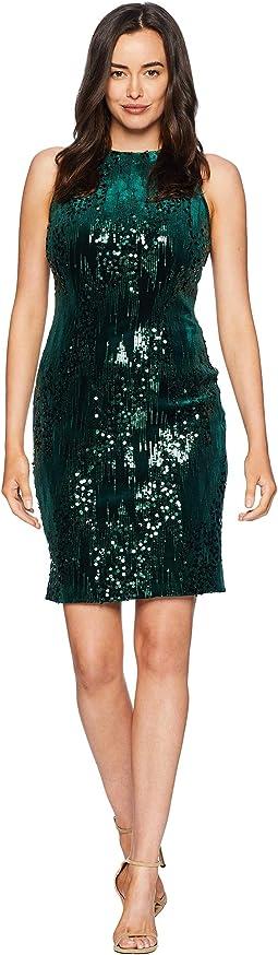 Sleeveless Mock Neck Sheath Dress