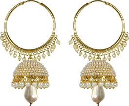 Meenaz Jewellery Traditional Gold Plated Pearl Jhumka Jhumki Earrings For Women & Girls- Jhumki-J148