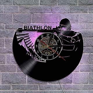 ビニールレコード壁掛け時計 サイレントクォーツ機構 リモコン壁ランプ 装飾ギフト,B