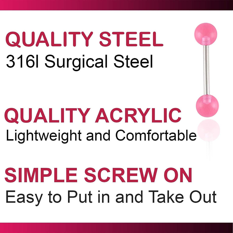 bodyjewellery 3Pcs 14g 14 Gauge 1.6mm 14mm Steel Tongue Ring Straight Barbell Tounge bar Set Body Piercing Jewelry AZNC