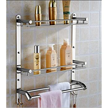 OSLEN Stainless Steel Double Layer Shelf with Towel Road,Multipurpose Wall Mount Bath Shelf Organizer,Kitchen Shelf/Bathroom Shelf and Rack/Bathroom Accessories
