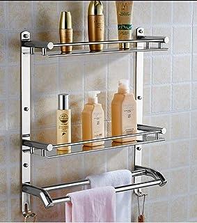 OSLEN Stainless Steel Double Layer Shelf with Towel Road,Multipurpose Wall Mount Bath Shelf Organizer,Kitchen Shelf/Bathro...