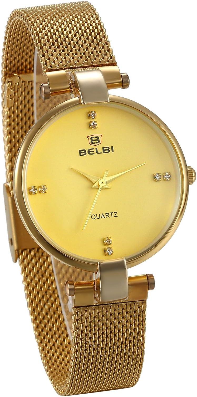 Jewelrywe Reloj de pulsera de cuarzo para hombre y mujer, de acero inoxidable, impermeable, con diamante de color dorado