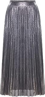 Solardragon autumn skirt Falda Larga Plisada metálica de Cintura Alta para Mujer, Falda Maxi