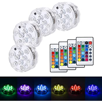 4pcs RGB Submersible LED Lights with Remote Color Changing for Party Decoration, Waterproof LED Lights Submersible for Party Glass Vase Decor Halloween Christmas