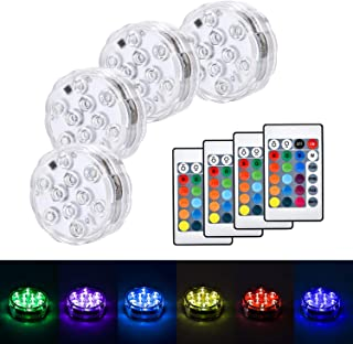 4pcs RGB Submersible LED Lights with Remote Color Changing for Party Decoration, Waterproof LED Lights Submersible for Par...