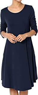 TheMogan Basic Jersey Knit 3/4 Sleeve Trapeze Pocket Loose T-Shirt Dress