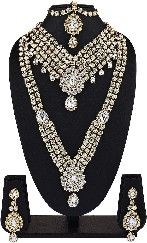 Efulgenz Indian Bollywood Bridal Wedding Rhinestone Crystal Choker Necklace Earring Maang Tikka Head Chain Nose Ring Bracelet Jewelry Set