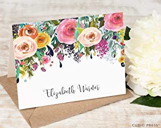 MULTI FLOWER FOLDED - Personalized Stationery/Custom Hot Pink Colorful Pretty Womens Roses Elegant Stationary Notecard Set