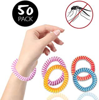 50 Pack Mosquito Repellent Bracelet Band - Individually Wrapped - Waterproof - Premium Pest Control Insect Bug Repeller - Natural Indoor/Outdoor Insects - DEET-Free for Men, Women, Kids Children