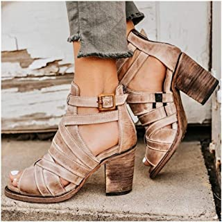 "Heeled Sandals For Women Chunky 7cm/2.75"" Heel Buckle Back Zipper Faux Leather Rubber Sole Open Toe Cut Out Criss Cross Roman Personalized Fashion Shoes Attractive (Color : Apricot, Size : 38 EU)"