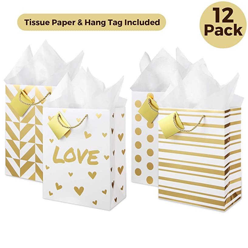 Large Metallic Gold Gift Bags (Set of 12, Assorted Designs) Tissue Paper Included! Rope Style Handles, Gift Card, Cute Present Bag for Welcome Gift, Wedding, Anniversary, Birthday, Holiday