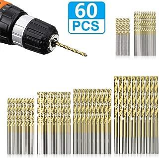 LudoPam Drill Bits Set 60 Pcs,HSS Titanium Micro Twist Drill Bits for Wood Plastic Aluminum Alloy Soft Metal 1/8 1/16 3/64 5/64 3/32 7/64