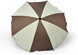 Sombrilla universal para cochecitos y sillas de paseo deportivas, paraguas con soporte universal, protección UV 50+, parasol (marrón y crema)
