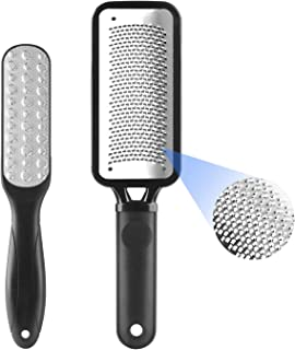 Geecol Pack of 2 Foot Scrubber, Premium Stainless Steel Foot Rasp File Callus Remover Professional Foot Scrubber - Colossal Foot Rasp and Dual Sided Foot File, Black