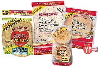 Joseph's Bakery Combo Super Value Pack: Joseph'S Flax Oat Bran & Whole Wheat Reduced Carb Low Carb Pita Bread, Lavash Bread, Tortilla, and Mini Pita