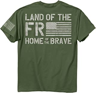 Buck Wear Men' Freedom Flag Ss Cotton T-Shirt, Military Green