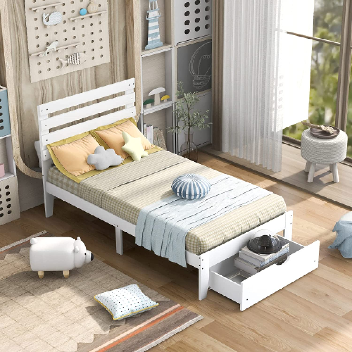 Twin Size Platform Bed with Drawer Wooden S Frame Fashion Super intense SALE Double Can