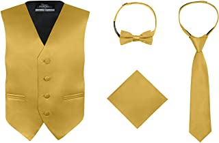 S.H. Churchill & Co. Boy's 4 Piece Vest Set, with Bow Tie, Neck Tie & Pocket Hankie