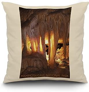 Mammoth Cave, Kentucky - Drapery Room (20x20 Spun Polyester Pillow, White Border)