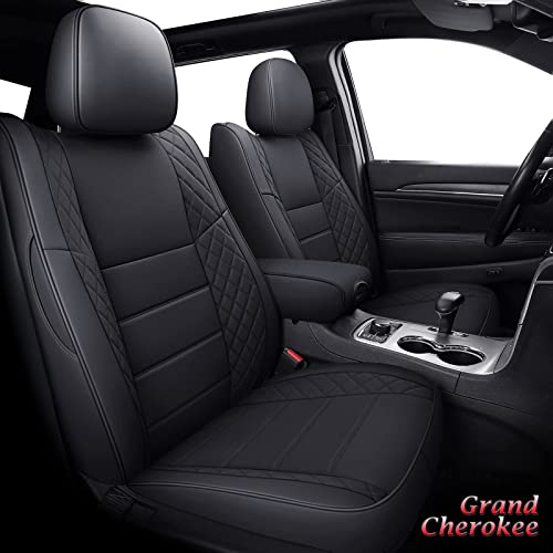 wholesale Coverado Front and Back Seat Covers 5 Pieces, Custom Leatherette high quality Seat Cushions online for Jeep Grand Cherokee 2011-2021, Waterproof Seat Protector Full Set, Black outlet sale