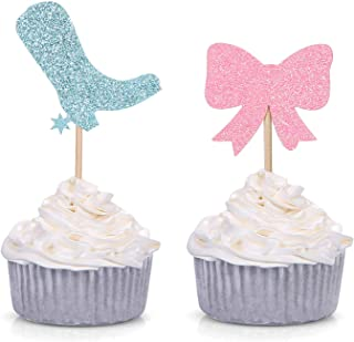 Pack of 24 Boots or Bows Gender Reveal Cupcake Toppers Baby Shower Party Decorations (Blue and Pink)