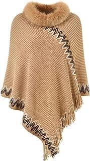 Women's Elegant Striped Knit Poncho Sweater with Warm Faux Fur Collar