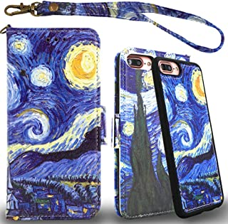 Mefon Detachable Leather Wallet Case, with Tempered Glass and Wrist Strap, Enhanced Magnetic Closure, Durable Slim, Luxury Flip Folio Cases for Apple iPhone 8 Plus, 7 Plus, 6S / 6 Plus (Starry Night)