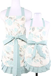 NEOVIVA Cooking Aprons with Pockets for Mama and Me, Double-Layered Bib Apron for Cooking, Baking, BBQ and Gardening, Style Kathy, Floral Hydrangea Clear Aqua