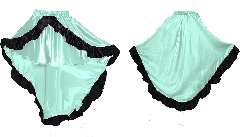 Meek Mercery Asymmetrical Skirt with Frill Women High Low Skirt Belly Dance Wear Satin One Size S49