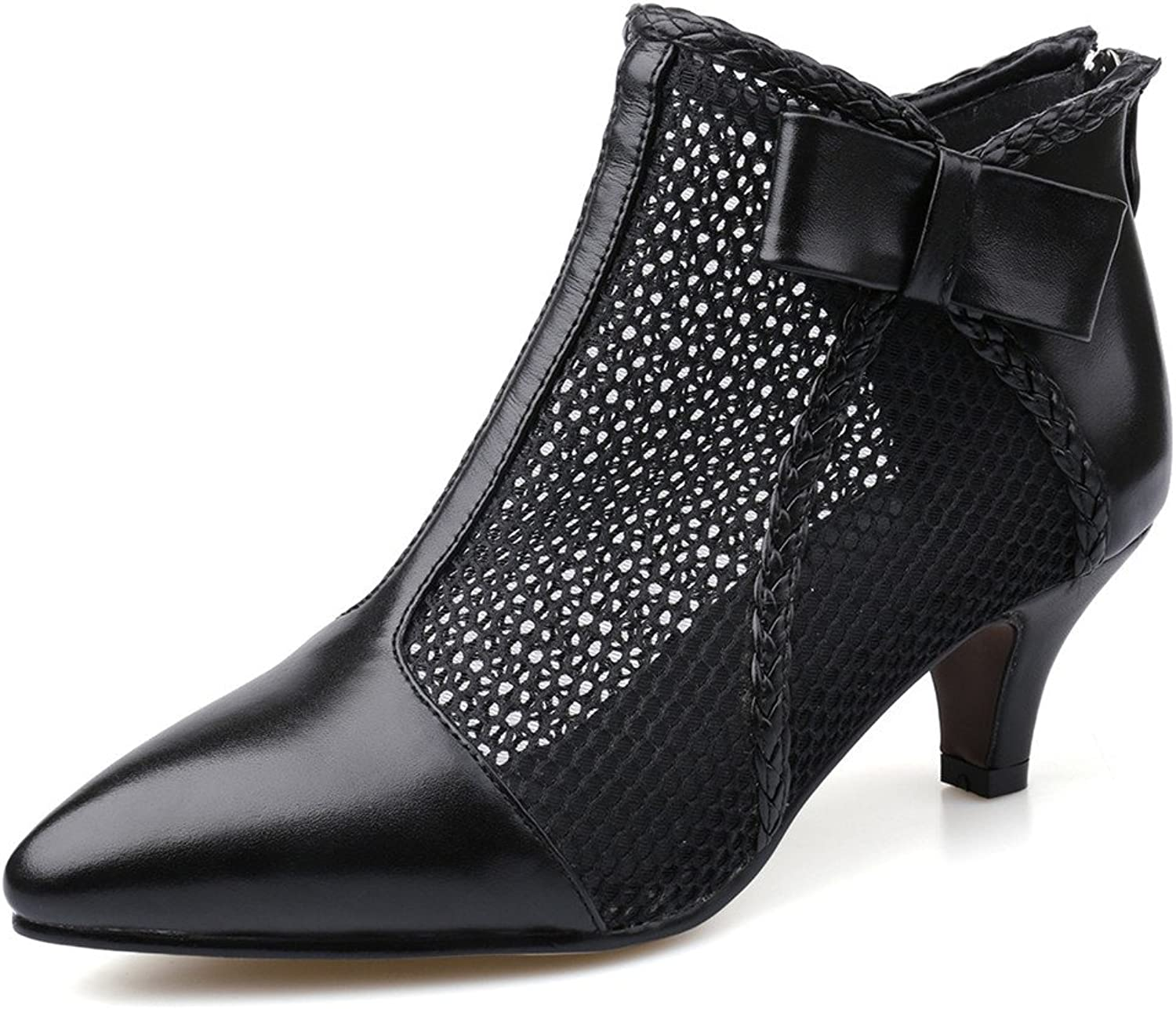 Nine Seven Cow Leather Women's Pointed Toe Low Heel Bowknot Sexy Handmade Ankle Mesh Boot