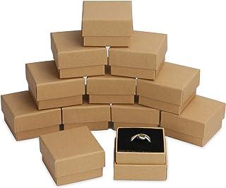 Boîtes Kraft - Paquet de 24 | Rangement pour bagues et petits bijoux | Ensemble d'organisation à couvercle | Présentoir dé...