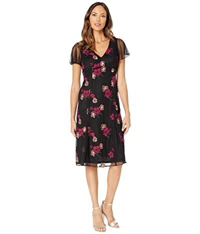 Adrianna Papell Floral Embroidery Boho Dress (Purple Multi) Women