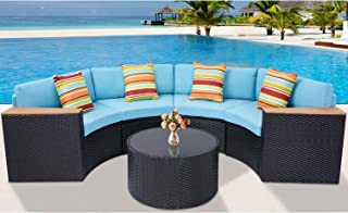 Incbruce 5Pcs Outdoor Sectional Sofa Half-Moon Patio Furniture Set All-Weather Garden Sofa with Round Tempered Glass Top Table, Sky Blue Cushions and Colorful Pillows
