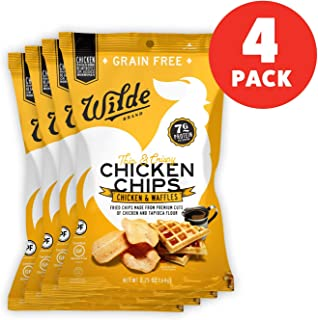 Chicken & Waffles Chicken Chips by Wilde Brands | Protein Snack | Made with Real Chicken | Keto Friendly, Paleo Certified | Antibiotic and Gluten Free | 2.25oz Bag (4 count)