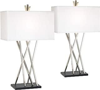 Asymmetry Modern Table Lamps Set of 2 Brushed Steel Black White Linen Rectangular Shade for Living Room Family Bedroom - Possini Euro Design