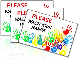 Wash Your Hands Sign Sticker 4 in. x 6 in.︱Hand Washing Self Adhesive Vinyl Label Signs Pack of 3
