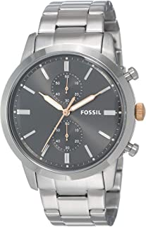 FOSSIL Men's FS5407 Year-Round Chronograph Quartz Silver Band Watch