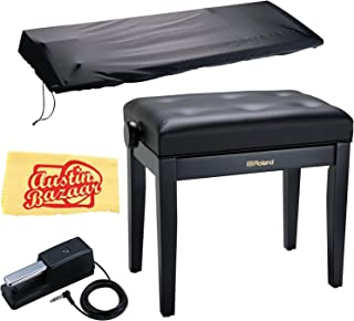 Roland RPB-300 Piano Bench - Satin Black Bundle with Roland DP-10 Damper Pedal, Dust Cover, and Austin Bazaar Polishing Cloth