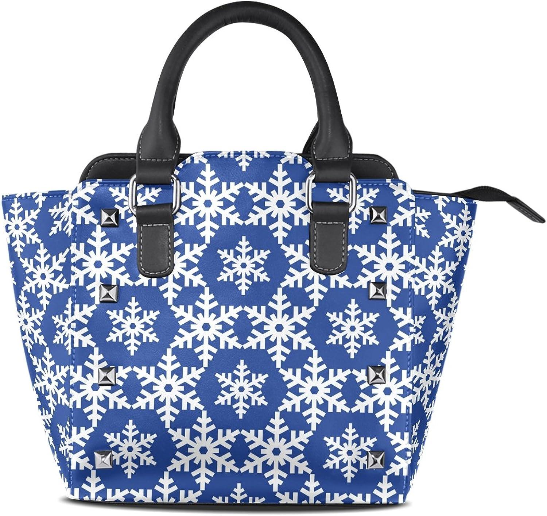 My Little Nest Women's Top Handle Satchel Handbag Winter Stylish Snowflakes Ladies PU Leather Shoulder Bag Crossbody Bag