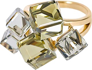 MOONSTONE Women's Fashion Statement Ring Two-Toned Asymmetric Zircon Crystal Cube, Ladies Accessories
