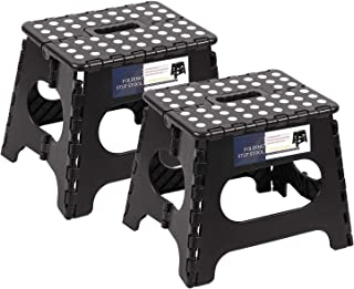 REDCAMP 2-Pack Folding Step Stools for Adults and Kids, 11 Inch High Heavy Duty Collapsible Plastic Step Stool with Handle, Black