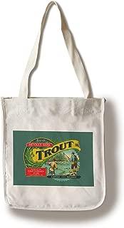 Lantern Press Metolius River, Oregon - Trout Can Label - Contour - Vintage Artwork 100400 (100% Cotton Tote Bag - Reusable)